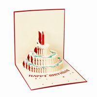 pop up tarjetas de pastel al por mayor-3D pop-up tarjeta de felicitación hecha a mano feliz cumpleaños de pascua día de san valentín cake candle invitation tarjetas de regalo fiesta suministros festivos