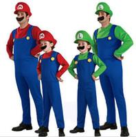 fantasia luigi halloween venda por atacado-Adulto Crianças Halloween Traje Cosplay Super Mario Luigi Irmãos Encanador Fantasia Traje Do Partido 3 pcs 1 conjunto romper + chapéu + Barba