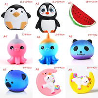 Wholesale popcorn balls resale online - 51 style any choose collocation PU Squishy Slow Rising squeeze toy Male Female penguins octopus horse popcorn pineaple ball