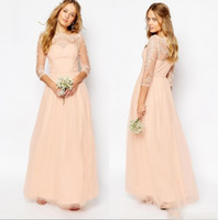 Wholesale wedding bridesmaid dresses light peach resale online - 2018 Cheap Peach Pink Bridesmaid Dress Lace Appliques Bateau Neck Long Sleeves A Line Formal Prom Party Wedding Guest Gowns Custom