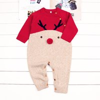 Wholesale Kids Animal Sweaters - Newborn Hot Selling New Arrivals Fall Baby Kids Christmas Deer Sweater Romper High Quality Cotton Long Sleeve Round Collar Autumn Romper