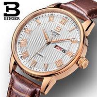 роскошные ультратонкие часы оптовых-Швейцария мужские часы люксовый бренд наручные часы BINGER ультратонкий кварцевые часы кожаный ремешок авто дата водонепроницаемый B3037-2