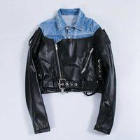 ingrosso nuovi jeans materiale-Autunno / Inverno Moda donna Nuove giacche a maniche lunghe in pelle nera e denim materiale patchwork Coat Top giacca di jeans