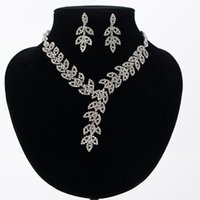 Discount wholesale bridal jewelry sets - whole saleHot Sale Women Crystal Rhinestone Bridal Jewelry Set African Wedding Jewelry Set Necklace Earrings best gift N179
