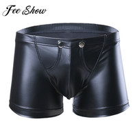 Wholesale wholesale leather lingerie - FEESHOW Sexy Men's Lingerie Faux Leather Underwear Shorts Underpants with Bulge Pouch Gay Men Lingerie Faux Leather Boxer Shorts