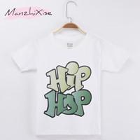 ropa popular de la marca del bebé al por mayor-2018 Niños Populares Camiseta Hiphop Street Dance Letter Top Algodón Niño Camisas Niños Boy Camiseta Corta Baby Girl Clothing Brand