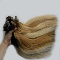 16 zoll band haarverlängerungen großhandel-Band in den menschlichen Haar-Erweiterungen 10-24 Zoll-gerades Band im Haar Ombre-blonde Farbe Remy Band-Haar-Verlängerungs-Kleber 40pcs
