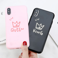 ingrosso regina iphone-Letters Queen King Couples Phone Case per iPhone 7 Coque Ultra Slim Cover Soft Shell Soft per iPhone 7 8 Plus 6 6s X