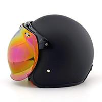 motosiklet kaskı için siper toptan satış-Motosiklet Vintage sunvisor kabarcık kalkan pilot retro kask visor jet scooter moto kask + harley kaskları için visor ...