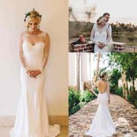 Wholesale Transparent Bodice Wedding Dress - Transparent Long Sleeve Wedding Dresses Backless Floor Length Mermaid Modern Sexy 2018 Bridal Gowns Custom Size