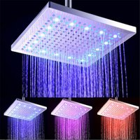 Wholesale Plastic Change Holder - 12 inch Square 7 Colors Changing LED Shower Head Bathroom Rainfall Shower Heads Waterfall Head