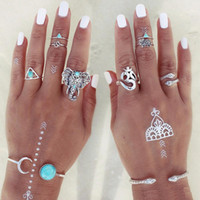Wholesale elephant mix resale online - Fashion set Boho Retro finger Knuckle Elephant Snake Turquoise Rings Lucky Stackable Midi Rings Set of Rings for Women Party Jewelry