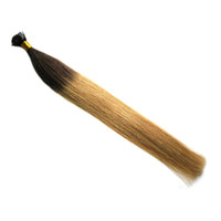 1 g de pelo de punta de palo al por mayor-Ombre Color TB / 27 1g / s Straight Fusion Hair punta plana Stick Tip Keratina máquina hecha Remy Pre Bonded cabello humano extensión 100G