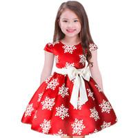 büyük kızlar yılbaşı elbiseleri toptan satış-Qisemi Noel Kızlar Büyük Yay Kar Baskılı Parti elbiseler çocuklar cosplay Çocuk saten vaftiz vaftiz pageant elbise giyim