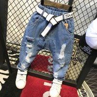 bebek erkek moda kot toptan satış-Çocuklar Pantolon Moda erkek Kot Çocuk Erkek Yırtık Kot Çocuklar Denim Pantolon Bebek Rahat Jean Bebek erkek Pantolon C12035 (Hiçbir kemer