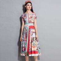 Wholesale Designer Lady S Dresses - Lady Milan 2018 Women's O Neck Short Sleeves Printed Fashion Designer Mid Calf Casual Runway Summer Dresses