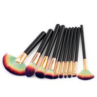Wholesale colorful eye make up for sale - Newest Big Fan Makeup Brush Wood Handle Make Up Brushes Cream Foundation Eye shadow Powder Colorful Brush Hiqh Quality DHL Free Ship