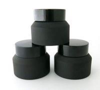 gafas cosméticas negras al por mayor-200 piezas 15G 30G 50G Frost Cream Glass Jar con tapas negras White Seal Container Cosmetic Packaging, 15G Glass Cream Pot
