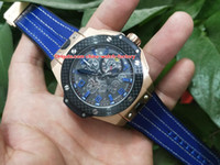 Wholesale band bang - Luxury High Quality Watch Classic 44mm Bang King Power 18k Rose Gold Blue Rubber Bands VK Quartz Chronograph Working Mens Watch Watches