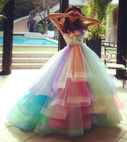 Wholesale rainbow prom dress for sale - Prom Dresses Sexy Strapless Tulle Colorful Rainbow A Line Bridal Evening Gowns Crystal Sleeveless Plus Size Vestidos De Festa BA1754