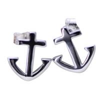 a8577309bfa4 Heißer Verkauf 925 Sterling Silber Anker Form Stud Retro Ohrringe für  Frauen Mädchen Geschenk Party Schmuck