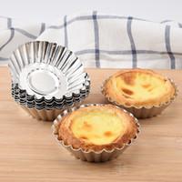 molde de flores de metal al por mayor-Herramientas para hornear Mini papel de aluminio cupcup egg desechable papel de hojalata tarta tazas cakecup flower style gelatina molde cake cake Muffin Cups