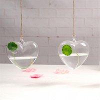 ingrosso vaso 11-Appeso a forma di cuore trasparente Vaso di fiori Idroponica Vaso resistente al calore Vetro trasparente Home Decor Wedding Flowerpot 11 8zc jj