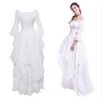 vestido de corte medieval venda por atacado-Medieval renascentista branco longo tribunal vestido noite princesa nightwear eua nave