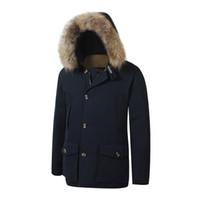mens ceketler toptan satış-2018 Marka Yeni woolrich Çıkarılabilir Rakun Kürk Erkek Arctic Aşağı Parka Sıcak CEKET kalın açık Kış Coat
