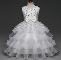 Wholesale diamond embroidery wedding dress online - ball gownFlower Girl dresses Sequin Diamond Dress Bow Tie Party Wedding Pageant Princess Birthday Layer Dresses Children Clothes Years