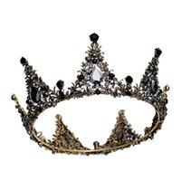 ingrosso ragazze nere rotonde tappi-Vintage Fulll rotondo nero corona Tiara barocco cristallo bambini principessa ragazze corona accessori da sposa da sposa testa gioielli Cap
