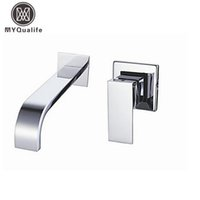 Wholesale Tap Mixers - Wholesale- Free Shipping Single Handle Wall Mounted Waterfall Basin Sink Faucet Chrome Finished Bathroom Mixer Tap