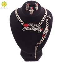 Wholesale red lips bracelet for sale - Bridal Jewelry Sets Red Sexy Lip And Enameled Lipstick Kiss Make Up Women Gold Plated Necklace Earring Bracelet Ring Set