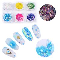 Wholesale star glitter nail art for sale - Group buy 6 Boxes AB Color Mermaid Nail Sequins Set Irregular Powder Flakies Star Round Iridescent Colorful Nail Art Glitter Decorations