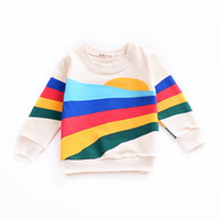 Wholesale toddler tee long sleeve for sale - Group buy Baby Clothes Girls T Shirt Children Clothing New Baby Boy Girl Clothes Long Sleeve Tops Tee Rainbow Print Toddler Kids Coats Sweatshirt