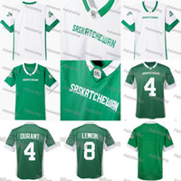 Wholesale gold lemon - Saskatchewan Roughriders Jerseys 8 Shawn Lemon 4 Darian Durant Jersey Stitched Any name and number Jersey