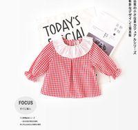 Wholesale red white plaid shirt - 2018 INS NEW ARRIVAL Girls Kids shirt long Sleeve ruffle collar red white plaid print shirts girl baby kids casual spring shirt