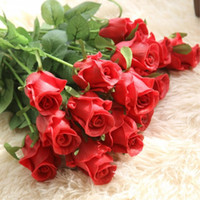 Wholesale flowers decoration real greens resale online - Nienie Artificial Flowers Diy Wedding Decorations Real Touch Rose Flowers Bridal Bouquets Home Decor Artificial Flores
