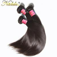 remy haarprodukte großhandel-Nadula Haar Produkte 1 Bundle Indisches Gerades Haar 8-30 zoll Nicht Remy 100% Menschliche Weave Bundles Maschine Doppel Schuss