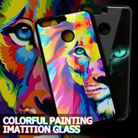 Wholesale owl back - For Iphone X 8 Plus Owl Tiger Unicorn Case Acrylic Colorful Painting Imitation Glass Back Cover For Samsung s8 Plus Note 8 VIVO X9S OPP BAG