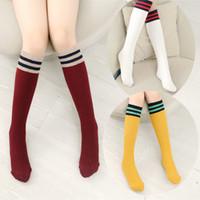 5ba71f04a1e Girls Knee High School Socks for Baby Boys Cotton Lovely Stripe Over Knee  Socks for Princess Girls Long High Sock 1-15Y
