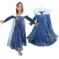 robes de princesse manches longues achat en gros de-2018 nouvelle robe congelée imprimée robes d'hiver à manches longues manteau Princess Party Full Dress Performance jupe 3-10 T