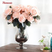 Wholesale french artificial flowers - 10 Head French real touch silk roses flower bouquet artificial flower bouquet wedding car decorationhome decoration flowers P30