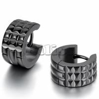 Wholesale Width 7mm - whole salePunk Mens 316L Stainless Steel Hoop Huggie Earrings Classic charm Men Jewelry Black Color 7mm Width
