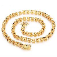Wholesale Double Rope Necklace - Jewelry mixed batch 18K gold-plated European and American fashion hot domineering rough mad double leading men's necklace