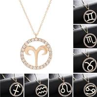 pingente de pisces do zodíaco venda por atacado-Moda 12 signos do zodíaco pingente colares com strass colares para as mulheres menina presente áries / taurus / pisces