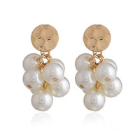 Wholesale grape chandeliers - Women Pearls Beads Balls Dangle Earrings Bunch of Grapes Drop Earrings Wedding Party Bridal Jewelry Accessories