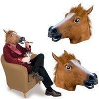 ingrosso maschera a cavallo senza lattice-Creepy Horse Mask Testa Halloween Costume Teatro Prop Novità in lattice di gomma spedizione gratuita maschera di Halloween CNY768