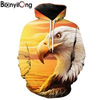 Wholesale rivers fashion - BIANYILONG 2018 new hoodies man Dry River Bed Eagle Printed Yellow Hooded Sweatshirt Fashion Pullovers tops