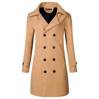 ingrosso cappotto britannico-Cappotto nuovissimo degli uomini Cappotto britannico del cappotto del pisello di inverno maschio di qualità degli uomini di modo di miscela britannica sottile di stile